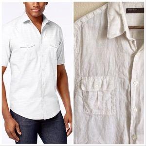 Perry Ellis oatmeal linen blend shirt